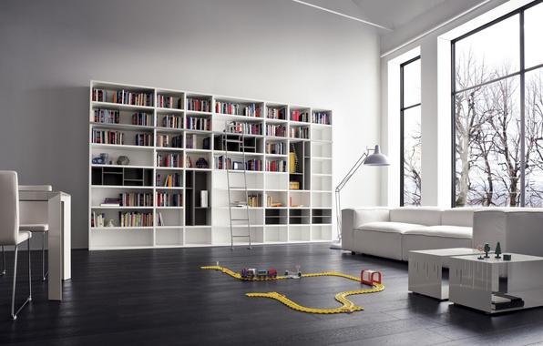 Picture white, design, sofa, interior, library, white, design, modern, sofa, modern, furniture, racks