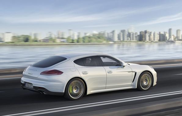 Picture Auto, The city, White, Porsche, Panamera, Day, Side view, E-Hybrid