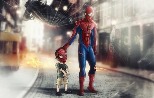 Picture spider-man, spider-man, child, web, mask, superhero
