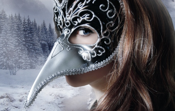 Picture winter, look, girl, snow, trees, face, background, hair, mask