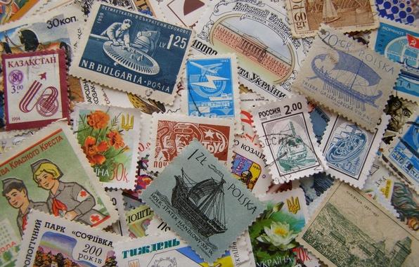 Picture USSR, paper, Poland, Ukraine, brand, mail, Czechoslovakia, Bulgaria, Kazakstan, postage stamps
