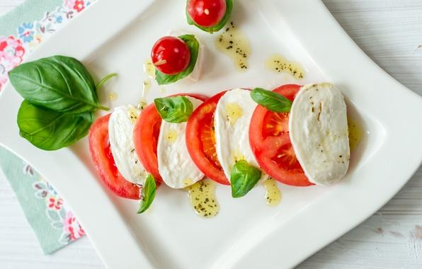 Picture oil, cheese, tomatoes, food, salad, appetizer, Basil, Caprese, mozzarella, caprese, salad
