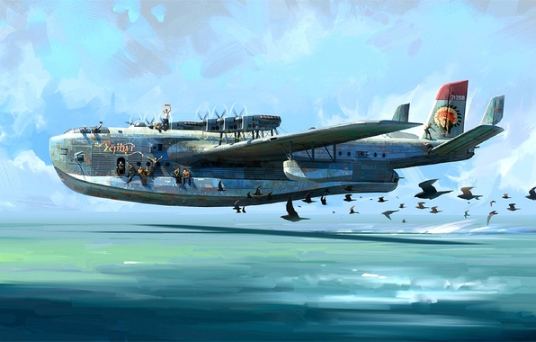 Picture the sky, birds, figure, art, flight, military, seaplane, shestimotorny