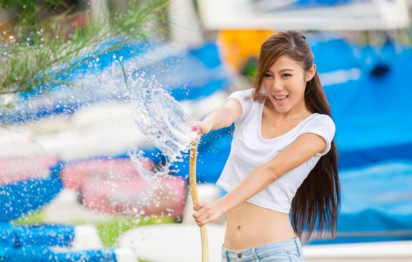 Picture water, girl, squirt, hose