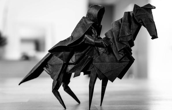 Picture paper, horse, rider, origami