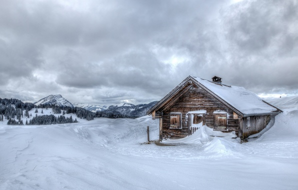 Picture cold, winter, snow, mountains, house, background, widescreen, Wallpaper, wallpaper, house, widescreen, hut, winter, background, mountains, ...