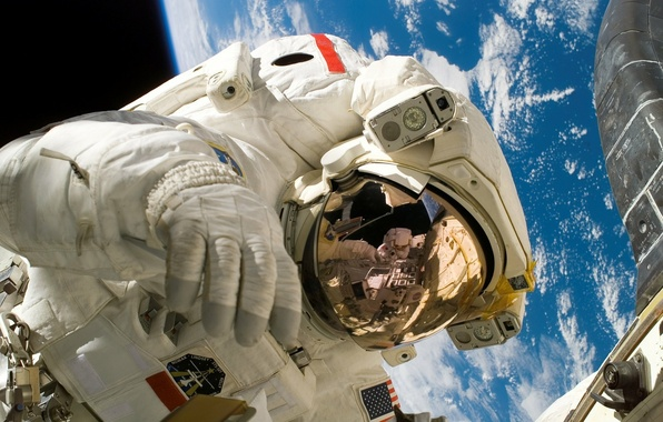 Picture space, flight, space, reflection, ISS, the suit, costume, instrumento, helmet, open space, astronaut, the international …