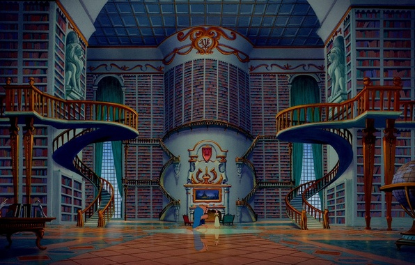 Picture cartoon, stairs, library, globe, disney, disney, beauty and the beast, beauty and the beast