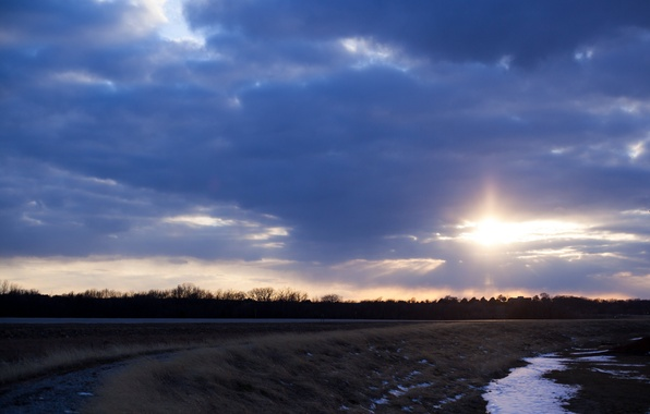 Picture the sky, the sun, light, trees, landscape, sunset, clouds, Field, the evening, blue