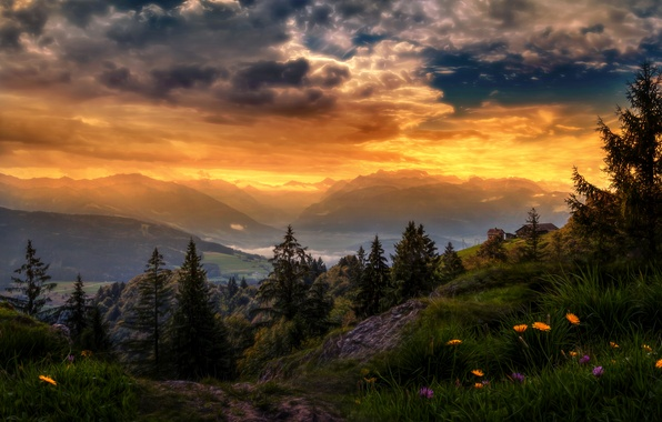 Picture the sky, grass, clouds, trees, sunset, flowers, mountains, treatment, Switzerland, valley, glow, houses