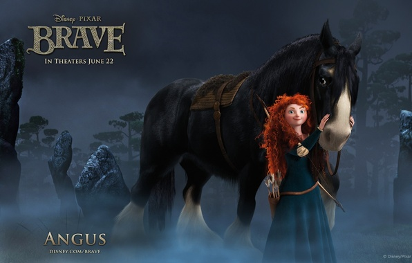 Picture forest, night, horse, Princess, Brave, Angus, Merida