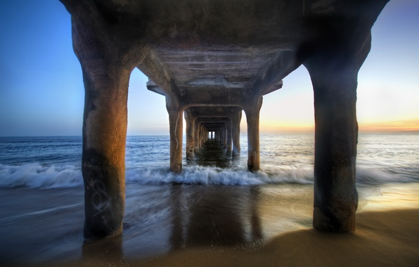 Picture sea, sunset, shore, posts, pierce