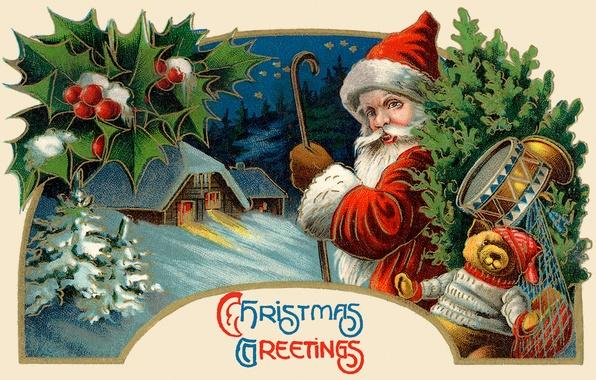 Picture winter, toys, tree, Santa Claus, Santa Claus, drum, postcard, Teddy bear