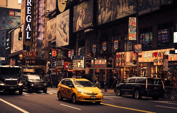 Picture United States, cars, New York, street, people, taxi, Lego, cityscape, shops, cab, everyday life, urban …
