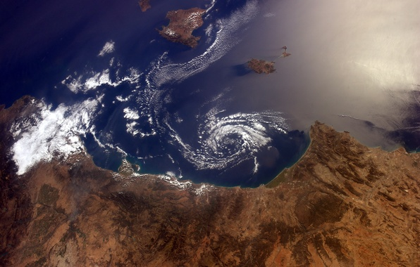 Picture space, earth, Balearic Islands, Spanish coast