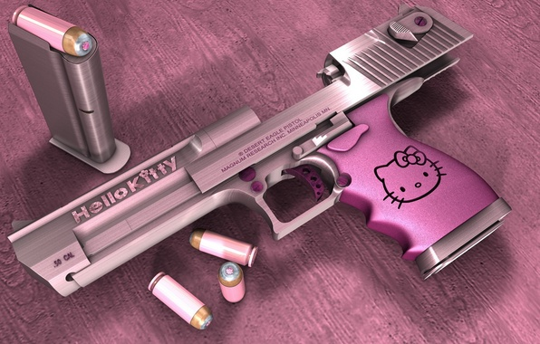 Picture pink, Desert eagle, Hello Kitty