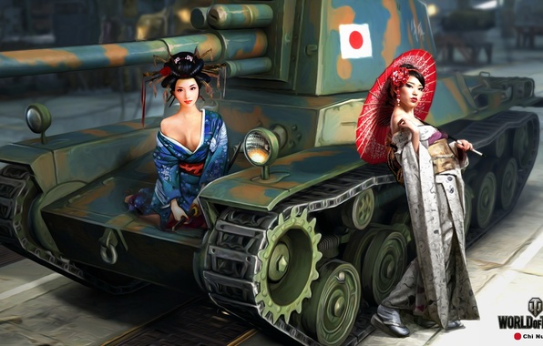 Picture umbrella, girls, figure, katana, art, samurai, tank, Asian girls, Japanese, average, World of Tanks, Nikita …