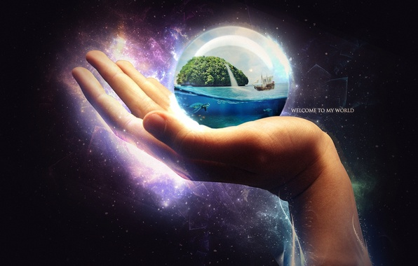 Picture the ocean, ship, island, ball, hand, turtle, art, sphere