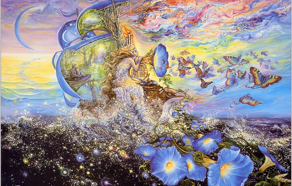 Picture sea, butterfly, flowers, fantasy, ship, Josephine Wall, Andromedas Quest, music