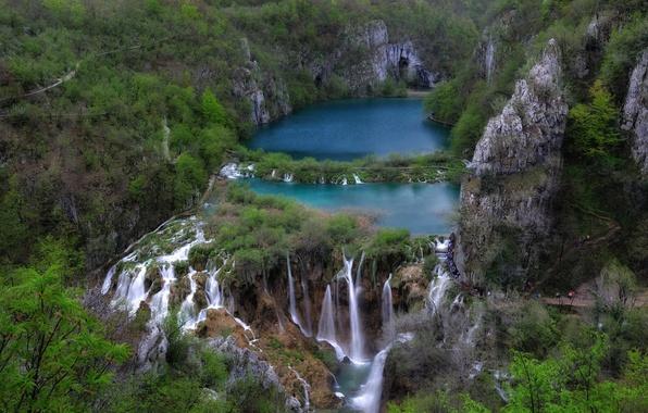 Picture lake, rocks, Croatia, Croatia, Plitvice Lakes, Croatian lakes, National Park Plitvice