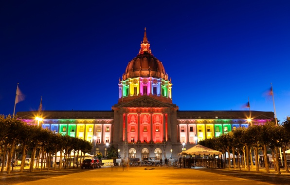 Picture the sky, trees, night, lights, color, rainbow, the evening, flag, backlight, USA, san francisco, San …
