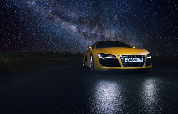 Picture Audi, Star, Space, Night, Yellow, Road, Supercar, Reflection