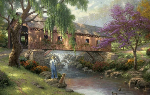 Picture bridge, nature, river, fishing, duck, dog, fisherman, painting, river, nature, bridge, art, Thomas Kinkade, painting, …