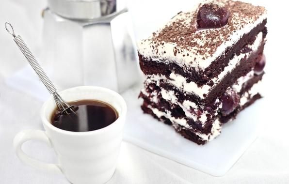 Picture cherry, coffee, food, cake, cream, dessert, chocolate