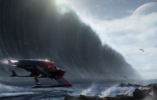 Picture the ocean, wave, Star Citizen, System Helios, Helios System