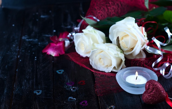 Picture flowers, heart, roses, candle, hearts, white roses, Valentine's Day