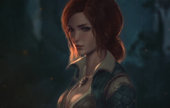 Picture girl, red, art, witcher, triss merigold, The Witcher 3: Wild Hunt