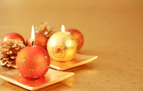 Picture holiday, candles, New Year, Christmas, the scenery, bumps, gold, candle, stand