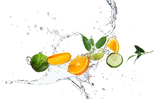 Picture water, drops, squirt, orange, lime, citrus, leaves, slices