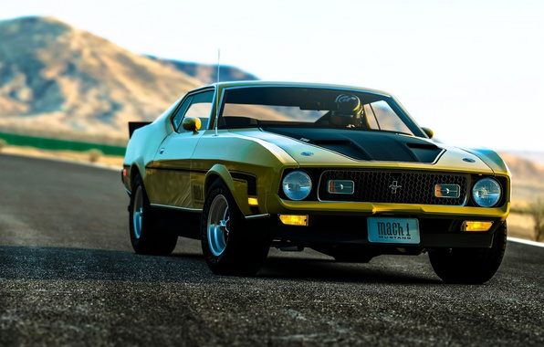 Picture rendering, background, Mustang, Ford, the front, Muscle car, Muscle car