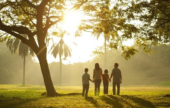 Picture greens, grass, leaves, trees, children, background, tree, widescreen, Wallpaper, mood, foliage, family, wallpaper, walk, mom, …