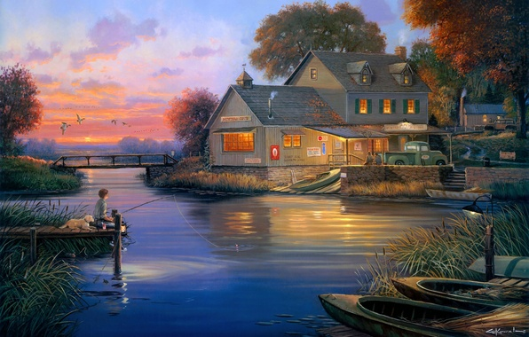 Picture autumn, bridge, house, duck, dog, Bay, fisherman, boats, the evening, painting, George Kovach, Hunters Cove, …