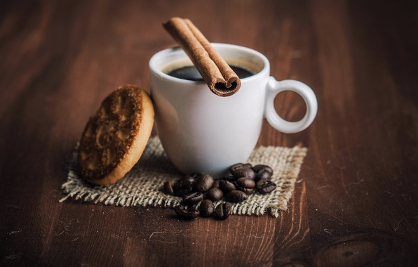 Picture coffee, cookies, Cup, drink, cinnamon, coffee beans