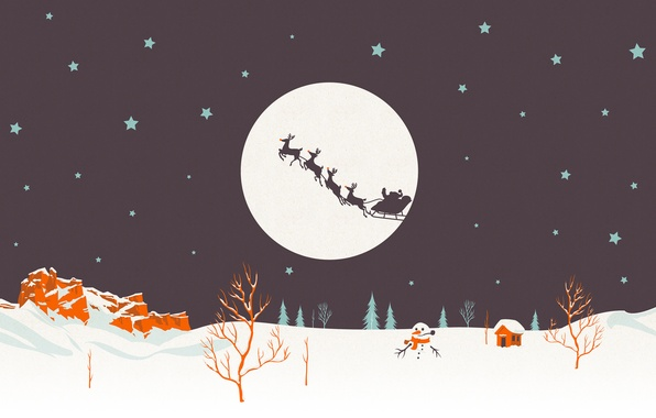 Picture holiday, new year, vector, wagon, the scenery, Santa Claus, deer, Santa, happy new year, christmas …