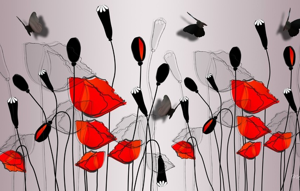 Picture flowers, butterfly, figure, Maki, vector