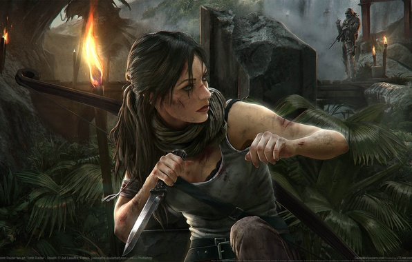 Picture bridge, weapons, jungle, knife, Tomb Raider, Lara Croft, torches, Stealth, game wallpapers, Lara Croft, Tomb …