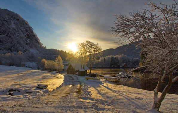 Picture winter, road, the sky, the sun, clouds, snow, trees, sunset, mountains, river, boat, boat, house