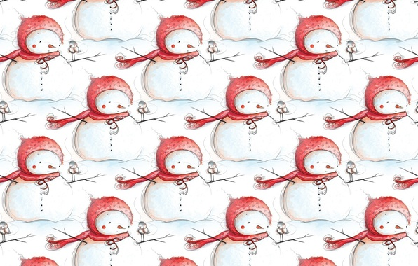Picture winter, background, holiday, texture, New year, snowman, bird, children's