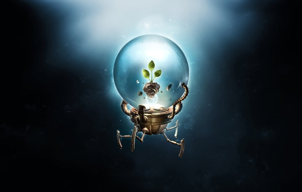 Picture leaves, Rostock, ball, robot, desktopography, render, hq Wallpapers