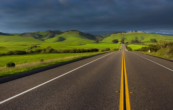 Picture road, the sky, clouds, spring, CA, April, USA, state