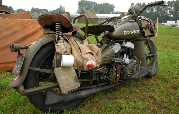Picture grass, war, motorcycle, military, Harley-Davidson, world, Second, times, WLA, medical bag