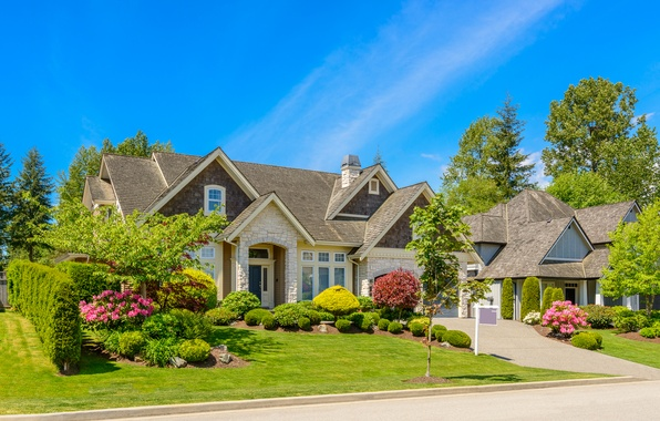 Picture road, greens, summer, the sky, grass, the sun, trees, flowers, house, lawn, blue, mansion, the ...