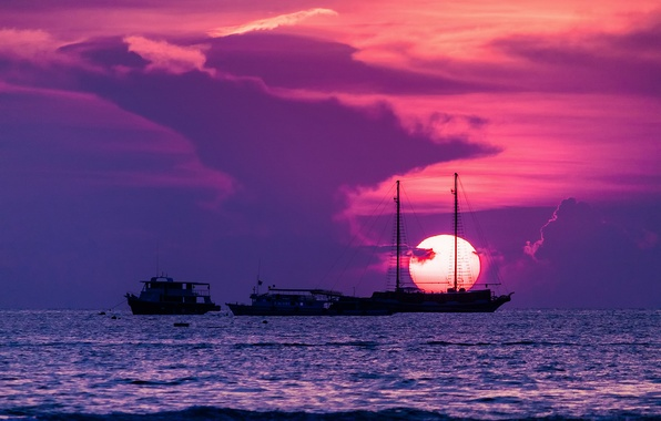 Picture the sun, sunset, the city, ships, Thailand, The Gulf of Thailand, Pattaya