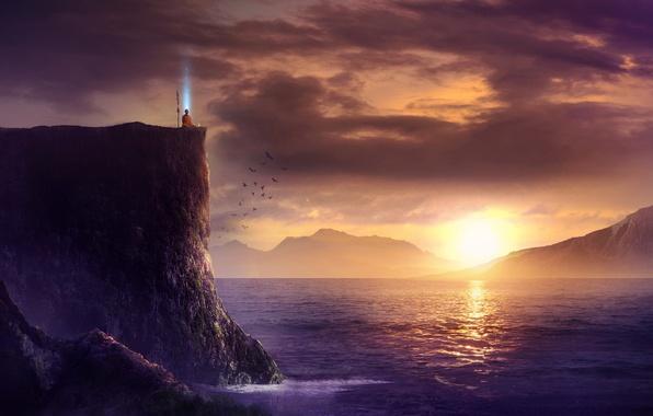 Picture sea, landscape, sunset, birds, open, rocks, magic, people, art, monk, spear