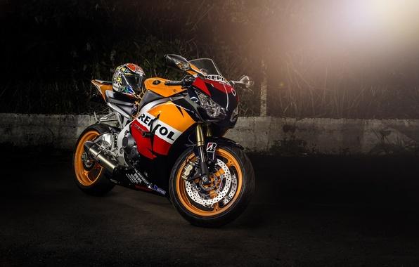 Picture motorcycle, helmet, honda, Blik, bike, Honda, supersport, repsol, cbr1000rr, Repsol