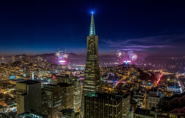 Picture the sky, night, the city, lights, holiday, building, home, skyscrapers, salute, lighting, CA, San Francisco, …